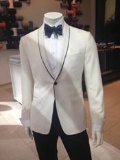 SKU#PNE52 Mens Dress Formal Ivory ~ Cream ~ Off White Dinner Jacket ~ Tuxedo ~ Blazer ~ Sport Coat Black Trim 7 days delivery