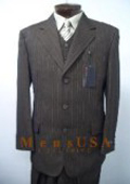 SKU S08 Ticket Pocket Dark Taup Tan Mix With Honey Brown Vested 3 Pieces Mens Dress Suit Three Piece