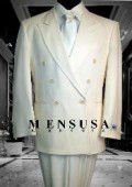 SKU# HTB2 2pc MEN'S SHARP Double Breasted DRESS SUIT Off White (IVory/Cream)
