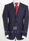 Dark Navy Blue With Double (Blue & Gray) Mini Pinstripe Salt & Pepper Birdseye Pattern 2/3 Buttons Men $295