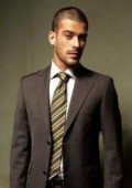 SKU 2TT1 Brown Small Shadow Ton on Ton Stripe Light Weight Fabric Suit Comes in 4 Colors 2 Button
