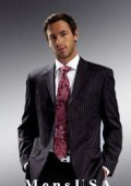 Signature Platinum Stays Cool Discounted Sale Uomo Black With & Bold Pinstripe Suit, Super Extra Fine $295