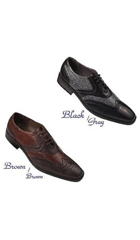 SKU#PN_9W New Men's Wing-Tip Design Dress Shoes Ostrich Print Blk/Gry D Brown/Brown