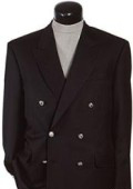 Black Six Button Double Breasted Performance Blazer Jacket Coat $139