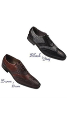 SKU#PN_A3 Men's Formal Dress Shoes Grey,DarkBrown, Brown And Black $75