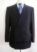 SKU TG72 Top Quality Navy Blue  Conservative Classic  Pinstripe Double Breasted Suit 295