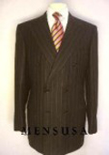 Top Quality Super Soft Brown Pinstripe Double Breasted Peack Laple Pleated Pants $299
