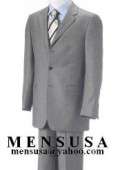 Light Gray Business Mens Suit Super 140's Wool Suits