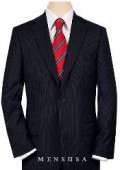 High-quality Construction 2 Button Navy Blue MiniStripe Ultimate Tayloring&Wool $199