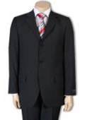 SKU#PWA663 Men's 3 or 4 Button Style Jet Black Light Weight On Sale