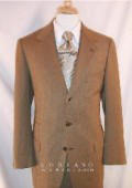 SKU BTY202 Loriano TaupHoney Brown Vested Single Breasted 3 Button Sharkskin Mini Shadow Pattern Ticket Pocket