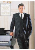 Pinstriped Tuxedo Suit Black/White
