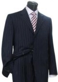 SKU GX707 Conservative Navy Blue Pinstripe Italian 3 Buttons Men Dress Suit 199