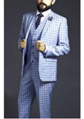 SKU#AC-167 Two Button Three Piece Blue Windowpane Plaid Pattern Suit $225
