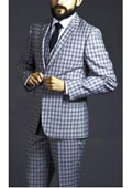 SKU#AC-168 Two Button Three Piece Black Windowpane Plaid Pattern Suit $225