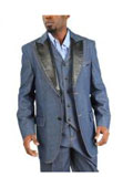 SKU#AC-170 Fashion Two Button Cotton Timmed Denim Suit Three Button Traditional Fit Black,Blue