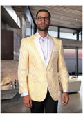 Mens Vintage Fancy Stripe One Button Sport Coat / Blazer Yellow $225