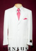 Shiny White Single Breasted, 3 buttons with Side Vents, Tone on Tone Stripe ~ Pinstripe $139
