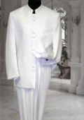 SKU#M78 Solid Off White/Ivory Mandarin Collar BANNED Collar Suit 8 BUTTON Discount Sale Designer