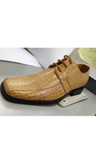 SKU#AC-336 Men's High Quality Fashion Animal/Alligator Print Dress Shoes Tan ~ Beige $59