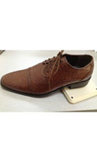 SKU#AC-346 Men's Dress Shoes Oxford Faux Leather Ostrich-Embossed Brown $59