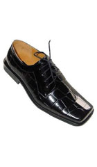 SKU#AC-348 Men's Crocodile ~ Alligator Print Man Made Leather Dress Shoes Black $59