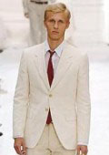 SKU#S81201 Highest Quality Two Button Style Ivory/Cream Suit Cool Lightest Weight Fabric Ivory ~ Off White Men's Suit
