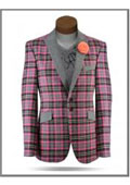 SKU#AC-575 Plaid Windowpane Tweed Sport Coat Stage Fancy Stage Party Two Toned Blazer / Sportcoat / Mens Jacket / Dinner Jacket Pink