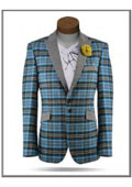 SKU#AC-578 Plaid Windowpane Tweed Sport Coat Sequin Shiny Flashy Silky Satin Stage Fancy Stage Party Two Toned Blazer $165