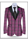 SKU#AC-579 Plaid Windowpane Tweed Sport Coat Stage Fancy Stage Party Two Toned Blazer / Sportcoat / Mens Jacket / Dinner Jacket Pink