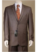 SKU#AC-679 Two Button Suit New Edition Shiny Sharkskin Taupe