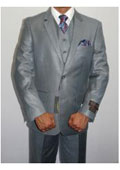 SKU# AC-721 Men's Three Piece Vested Suit Shinny Sharkskin Ocean Blue $175