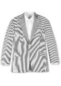 Two-button Seersucker White & Black~Gry Stripe Suit $159