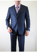 SKU#BC-49 Mens Two Button Three Piece Vested Shadow Stripe ~ Pinstripe tone on tone Italian Slim Fitted Skinny Herringbone Tweed Suit with sheen Slate~Cobalt ~ Indigo