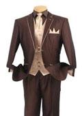 SKU#BC-72 Tuxedo Fashion Elegance Brown With Champagne Beige $495