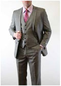 SKU#BC-85 Mens Slim Fitted Skinny Vested Three Piece Suit Plaid Window Pane Grey ~ Charcoal