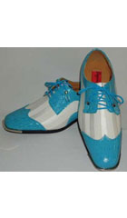 SKU#BC-92 Cool Aqua Turquoise Teal Silver Tip Dress Shoes With White Striped Satin $99