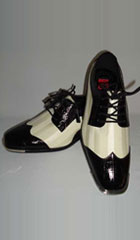 SKU#BC-97 Mens Black White Satin Formal Spectator Fashion Dress Shoes