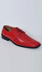 SKU#AB105 Men's Oxfords Faux Leather Croco-Embossed Dress Shoes Red $75