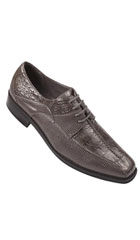 SKU#BC7AA Oxfords Faux Leather Embossed Men's Dress Shoes Gray $75