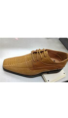 SKU#GA15 Men's High Quality Fashion Dress Shoes Snake Pattern Tan/Brown $75