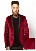 SKU# AB34 Men's Dinner Jacket Tuxedo Burgundy & black Lapel $199