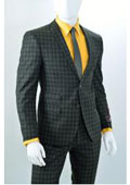 SKU#LL56 Window Pane Plaid houndstooth pattern ticket pocket slim fitted 2 Button suit Taupe