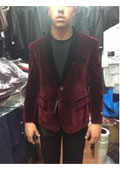 SKU#AY74 Burgundy ~ Maroon Velvet Velour dinner Jacket Shawl Collar Tuxedo Blazer Sportcoat $199