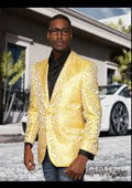 Floral Mens Satin Shiny Tuxedo Dinner Jacket Blazer Paisley Sport Coat Jacket Yellow $225