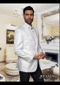 SKU#VN02 Floral Satin Shiny Mens Tuxedo Dinner Jacket Blazer Paisley Sport Coat Sequin Shiny Flashy Silky Satin Stage Fancy Stage Party Dance Jacket White