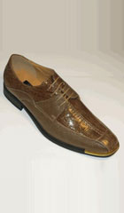 SKU#MJ4512 Mens Gold Tip Shoes Exotic Croco And Lizard Print Tie Up Brown $75