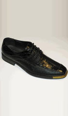 SKU#KR-18 Mens Gold Tip Shoes Exotic Croco And Lizard Print Tie Up Black $75