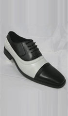 SKU#TK-07 Mens Saddle Shoes Tie Up Black White $75