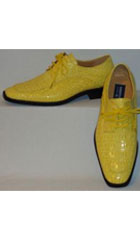 SKU#QY39L Mens Sunny Yellow Croco Embossed Lace-Up Dress Shoes $89
